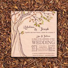 Printed Wooden Wedding Invitations - Nattivo Invitations
