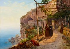 Carl Wilhelm Götzloff, DER KAPUZINERKONVENT SAN FRANCESCO IN AMALFI - This painting Carl Götzloffs shows the imposing Capuchin convent of San Francesco in Amalfi, a building from the early 13th century. The steep stairs leading to the Convention, which close to the cliff-built convent building and the portico with the spectacular views, the Passeggiata dei Monaci, demanded the construction of the early 19th century, a popular destination of travelers and a sought-after motif for artists…