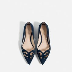 Image 5 of LASER-CUT LEATHER BALLET FLATS from Zara