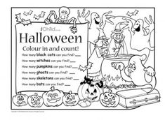 print off this activity and let your child have fun colouring and counting the spooky halloween - Funny Halloween Poems For Kids