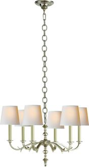 CHANNING Thomas O'Brien 6-LIGHT CHANDELIER - to match sconces s840.00 Burnished silver leaf/polished silver