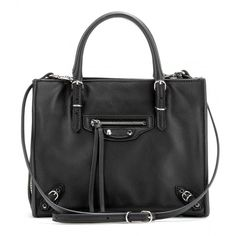 Balenciaga Mini Papier A4 Zip-Around Leather Shoulder Bag (€1.085) ❤ liked on Polyvore featuring bags, handbags, shoulder bags, black, shoulder hand bags, shoulder bag purse, mini handbags, shoulder handbags and mini purse