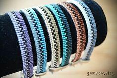 Dainty Copper Bracelet // Loom // Friendship Bracelet // by Gomeow Loom Bracelet Patterns, Bead Loom Bracelets, Bead Loom Patterns, Beading Patterns, Seed Bead Jewelry, Beaded Jewelry, Jewellery, Bead Loom Designs, Bracelet Patterns