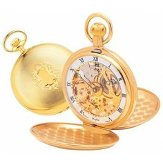 So pleased with my latest addition to my collection, courtesy of my darling wife and daughter.  GOLD PLATED 17 JEWEL DUAL MOON DIAL MECHANICAL DOUBLE HUNTER POCKET WATCH.   beautiful Double Hunter Dual Time Zone gold plated pocket watch with a classic design on the front with room for engraving of initials or for a larger inscription on the reverse of the case. The case opens to reveal an open front and back dial to allow visual of the 17 jewel full size French movements. It has three white…