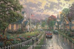 """We are proud to present our newest release from The Thomas Kinkade Vault - """"Morning Pledge"""". This painting was inspired by Thom's childhood memories of learning the meaning of the Pledge of Allegiance and saluting the flag each morning. """"Morning Pledge"""" is the first of six releases in the United We Stand Series."""