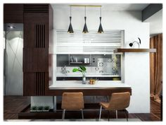 Dinning area between kitchen and living for 4 - 6 persons. Small Apartments, Small Spaces, Old Building, One Bedroom, Modern, Kitchen, Table, Furniture, Design