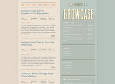 Showcase: 30 Beautiful Blog Designs for Inspiration. Great duo colour effect. http://www.growcase.com/blog/
