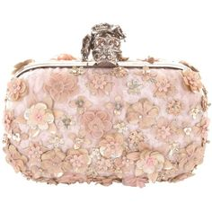Alexander McQueen Flower Skull Box Clutch ($2,795) ❤ liked on Polyvore featuring bags, handbags, clutches, purses, accessories, bolsas, ice pink, box clutch, skull purse and flower purse
