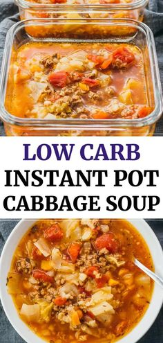 This hearty Instant Pot cabbage soup recipe with ground beef is great for anyone on a keto, low carb, paleo, weight watchers, or healthy diet. Reminds me of Polish stuffed cabbage rolls Unstuffed Cabbage Roll Soup, Cabbage Soup Diet, Cabbage Soup Recipes, Low Carb Cabbage Soup Recipe, Soup With Cabbage, Weight Watchers Cabbage Soup Recipe, Cabbage Hamburger Soup, Cabbage Fat Burning Soup, Stuff Cabbage