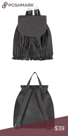 Fringe Bucket Backpack Fringe Bucket Backpack   🔸Size : Depth : 6inch, Height : 13inch, Width : 12inch  🔸Strap : Max : 31inch, Min : 18inch 🔸Exterior : PU 100% / Lining : POLY 100% 🔸Imported  ✔️Serious buyers please & No Low ballers!  Price is firm unless used with my bundle offers. Amor Adore Bags Backpacks