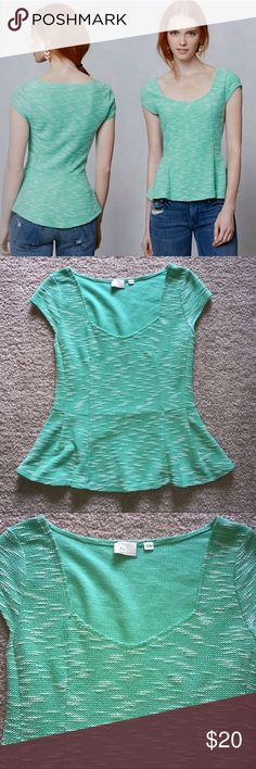 """Anthropologie Endash Boucle Green Peplum Top Adorable Peplum Style Top. Cap sleeves. Marbled Green and white. Textured. Size M. 80% polyester, 20% Cotton. Pre-loved. Measurements laying flat: length 22"""", bust 16.5"""", waist 14.5"""", and bottom hem 22.5"""" (measurements are approx.) Very tiny spot on the bottom hem (see last picture) Anthropologie Tops Blouses"""