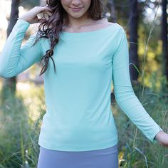 Features an off shoulder neckline and long sleeves Tunic Tops, Long Sleeve, Sleeves, Shirts, Women, Fashion, Moda, Women's, Fashion Styles