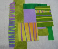Photo: Addind another compound piece, purple with skinny horizontal strips. This is just overlapped slightly, and nothing needs to be trimmed away.