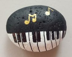 Music piano painted rock