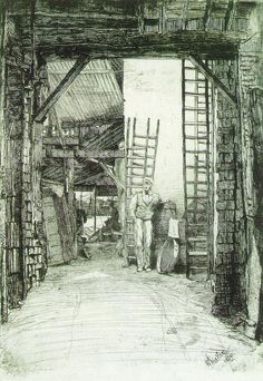 James Whistler The Lime-burner 1859 Etching and drypoint printed in black ink on cream laid paper with watermark of bricked arch in shield surrounded by stylized foliage Plate: 25.1 x 17.6 cm