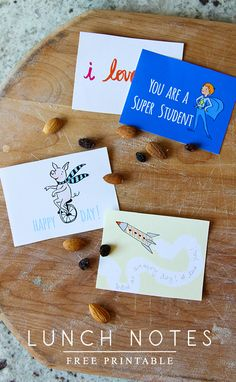 lunch notes printable || Sarah Jane Studios