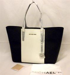 8fe467175ed8 Michael Kors Jet Set Med Travel Center Stripe Tote Black White 30f4gjtt2t  JS for sale online | eBay