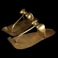 These golden sandals still covered the feet of Tutankhamun when Howard Carter unwrapped the mummy.