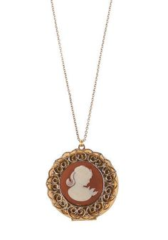 Wherefore Art Thou Cameo Necklace - Gold, Tan / Cream, White, Vintage Inspired, 20s, 30s, 40s