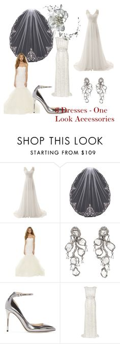 """3 Dresses - One Look"" by distveils on Polyvore featuring Marchesa, Saqqara, Jimmy Choo and Phase Eight"