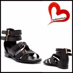 """SANDALS Gladiator Ankle Strap BLACK SANDALS Flats Ankle Strap 💟NEW WITH TAGS💟  * High quality construction  * Back zip closure, metallic silver hardware  * Multi ankle strap buckle closure gladiator vamp w/adjustable buckles  * An open toe style  * Flat ballet style sole .75"""" front & 2"""" stacked lug sold back high heels  * Gold metallic hardware   * True to size  Material:Manmade upper/sole  Color:Black Item:B9390 Embellished flatform 🚫No Trades🚫 ✅ Offers Considered*✅ *Please use the blue…"""