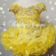 Fortress bright Sunny yellow for sure to brighten up any pageant stage. See my website for ordering your fabulous new design. Www.royaltydesigns.net Glitz Pageant Dresses, Little Girl Pageant Dresses, Pageant Wear, Beauty Pageant, Pretty Dresses, Beautiful Dresses, Beautiful Dress Designs, Cute Little Girls Outfits, Designer Dresses