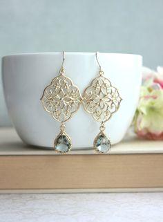 Boucles d'oreilles gris Art Deco lustre boucle par Marolsha sur Etsy