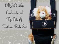 Spice up your New Ergo 360 with an Embroidered Ergo 360 Top bib & Teething pads set-Ergo 360 teething pads-Ergo 360 bib-Ergo accessory-suck pads, drool pads, Christine's, PUL