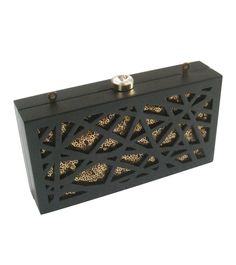 #Black & #Golden Cut Work #Rubber & #Wood #Clutch by #Duet #Luxury at #Indianroots