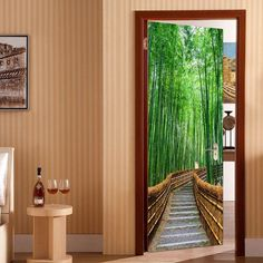 Environmental Removable Bamboo Forest Trail Printed Door Stickers - GREEN 38.5*200CM*2PCS Home Collections, Forest Plants, Wall Sticker, Door Stickers, Bamboo Forest, Cheap Doors, Wall Stickers, Prints, Doors