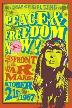 Vintage Retro Hippie Poster - Anti-war, peace, freedom.