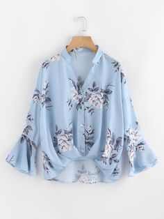 SheIn offers Flower Print Gathered Pleated Front Blouse & more to fit your fashionable needs. Teen Fashion Outfits, Hijab Fashion, Fashion Dresses, Casual Dresses, Casual Outfits, Cute Outfits, Blouse Styles, Blouse Designs, Mode Kimono