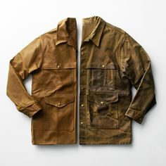Filson designed the first version of the now iconic Cruiser. Originally created for outdoor activities and occupations including logging, hunting and fishing, the jackets Rugged Style, Wax Jackets, Work Wear, Leather Jacket, Khaki Jacket, Menswear, Mens Fashion, My Style, Casual