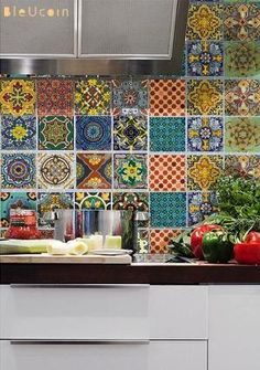 Bleucoin No 21 Mexican Talavera Tile/Wall/Stair/Floor Vinyl Stickers, Removable Kitchen Bathroom Peel & Stick Self Adhesive Decal Kitchen Tiles, New Kitchen, Kitchen Flooring, Kitchen Decor, Rental Kitchen, Kitchen Vinyl, Mexican Tile Kitchen, Kitchen Cabinets, Mexican Tiles
