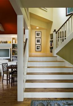 like the use of red, green and yellow paint with white steps/trim.  Also the space at the landing of the two sets of steps is nice and large.  Great lighting, too!