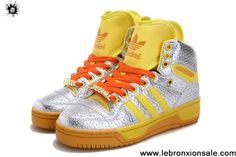 Buy Adidas Attitude Logo Double Heart Tongue Shoes Silver Yellow Shoes Store