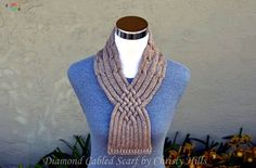 Knitting Pattern Only Diamond Cabled Scarf Cable Needle, Yarn Needle, Stitch Patterns, Knitting Patterns, Provisional Cast On, Quick Knits, Purl Stitch, Scarf Hat, Stitch Markers