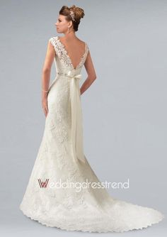 Beautiful Sexy Sheer Neckline Mermaid Lace Bridal Gown - Cheap Wedding Dresses Wholesale and Retail Online Store