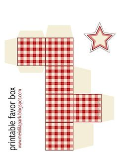 FREE printable gingham box ^^ | red and cream white - perfect for the Holiday
