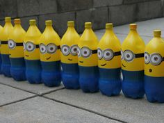 Despicable Me Minion Birthday Party   The Ruby Lake (i think it would be funner to shoot these bottles down with little nerf guns for boys)