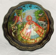 """Russian Lacquer box Palekh """" Little Red Riding Hood """" Hand Painted"""