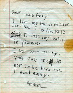 DISCOVER DENTISTS® Letter to Tooth Fairy http://DiscoverDentists.com