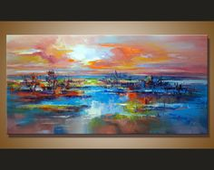 Abstract Wall Painting, expressionism Textured Painting,Impasto Landscape Painting ,Palette Knife Painting on Canvas by RHB Size: 24x48x1.2 [60x120x3cm] Stretched thickness: 1.2 (3cm ) Framed / Stretched ( Ready to hang! ) The sides are staple-free and are painted black. It is ready to hang . Payment Details: we prefer paypal Do remember to leave your phone number in the note field Shipment and Packing charge : By Air Mail Or EMS to world-wide Parcel will be shipped out within 1-3 work...
