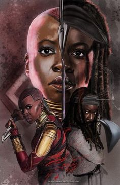 Original Art Of Danai As Both Michonne And Okoye Print ! ursprüngliche kunst von danai als michonne und okoye-druck Original Art Of Danai As Both Michonne And Okoye Print ! Shuri Black Panther, Black Panther Art, Black Panther Marvel, Black Girl Art, Black Women Art, Black Girl Magic, Art Girl, Movies Wallpaper, Walking Dead Art