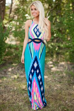 Lime Lush Boutique - Teal Aztec Printed Cut Out Waist Maxi, $44.99 (http://www.limelush.com/teal-aztec-printed-cut-out-waist-maxi/)