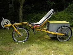 a FlevoTrike recumbent trike modified for a cargo box at rear