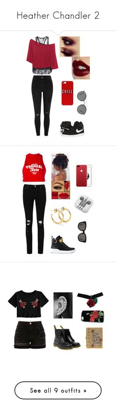 """""""Heather Chandler 2"""" by m-aaaaadii ❤ liked on Polyvore featuring tops, t-shirts, shirts, tops/outerwear, red print, white crew neck shirt, white t shirt, graphic tees, raglan t shirt and crew t shirts"""