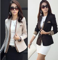 2014  new leopard blazer women's spring summer korean style coat fashion jacket one button leopard decorated jacket  b351 US $27.33