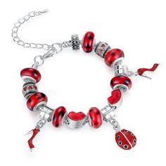 Original 925 Silver Charm Bracelet & Bangles Red Murano Glass for Women Fashion Pulseira Jewelry A1198