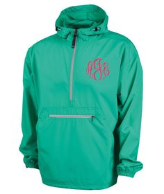 These are perfect jackets for men or women on the go! The Pack-n-Go pullover rain coats are unisex, lightweight unlined and store in the front pocket of the jacket itself for easy storage. Designed for convenience you can keep one of these pullovers anywhere for when you need it. #raincoat #windbreaker #monogrammedwindbreaker #rainjacket #packngo #halfzip #personalizedjacket #monogrammedrainjacket #personalizedraincoat #lilajanes #mint